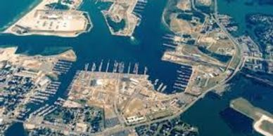 Aerial view of the ship docking area at Little Creek Amphib base.