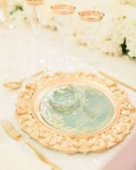 Wedding Place setting with charger plates
