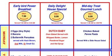 THREE DAILY SPECIALS OF OUR FAVORATE MENU ITEMS