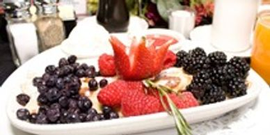 CREPES AND CHOICE OF A WIDE SELECTION OF FRESH FRUITS, EXOTIC NUTS, HOMEMADE CREAM AND SYRUP SAUCE