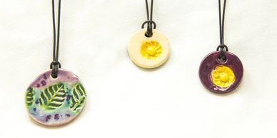 Small Circle Pottery Charms, Ceramic Jewelry, Handmade Pottery Necklace, Joppa Mountain Pottery