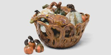 Pottery Small Handmade Pumpkin, Basket, Small Ceramic Pumpkins, Mini Gourds, Fall Home Decoration