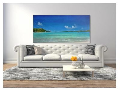 "Secret Harbour Blue by Alan Zawacki - 36""x72"" acrylic on gallery wrap canvas"