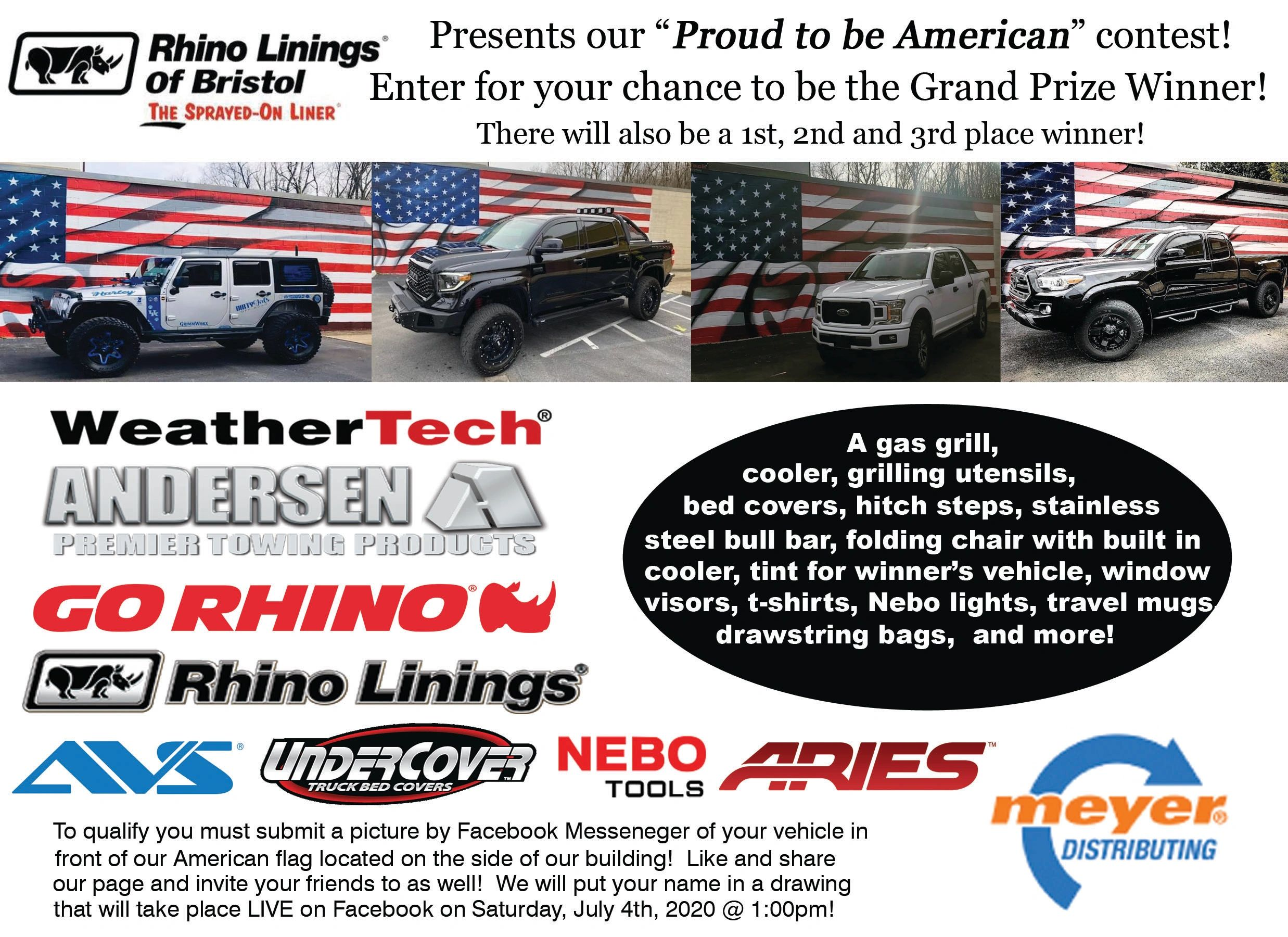 Proud to be an American, July 4th, Contest, Rhino Linings of Bristol, Prizes, Truck Accessories