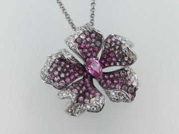 18k white gold diamond and pink sapphire