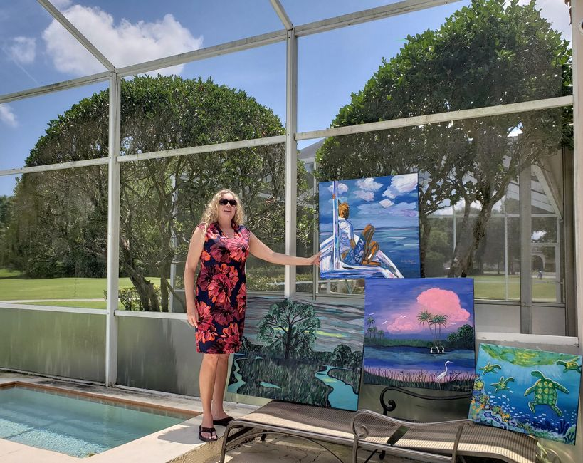 Gwendolyn Olmsted, artist, exhibiting four of her artworks from THE FLORIDA COLLECTION, 2019