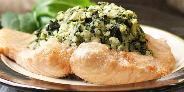 Feta and Spinach stuffed salmon