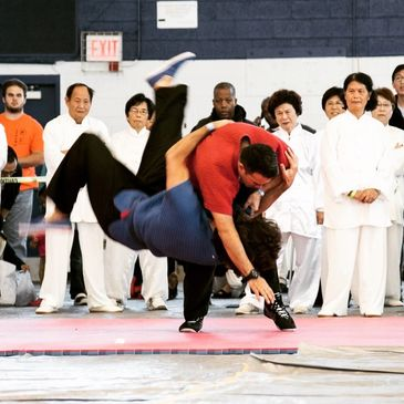 Shifu Gomez of New York Shuai Jiao Chinese Wrestling Traditional Kung Fu Martial Art Club. Demonstrating at tournament.