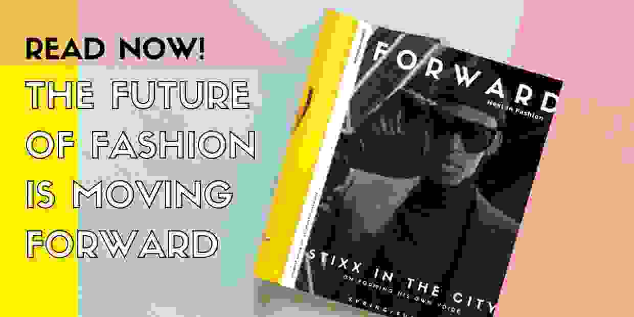 The latest issue of Forward, Next in Fashion with a colorful background