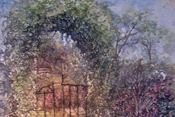 Watercolour batik garden gate