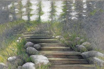 landscape drawing with pencils and pastels
