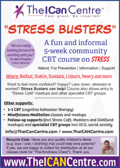 "Flyer for ""Stress Busters"" with The I Can Centre - a community CBT course for the general public"