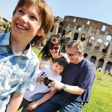 Family in Rome near the Coliseum.