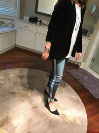 going out night time look day to night look sustainable denim vintage jeans ribbon side stripe