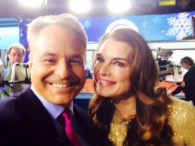 Clint Arthur & Brooke Shields on set at The Today Show in studio 1A in 30 Rockefeller Center