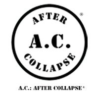 A.C.: AFTER COLLAPSE registered trademark circle logo and title