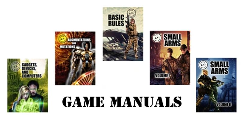 Game manual covers and text