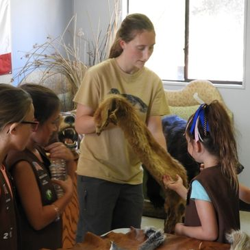 Mikayla Peterson, CCC watershed educator, shows off a pelt to visiting Girl Scouts.