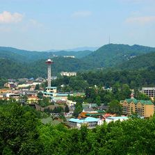 An overlook view of downtown Gatlinburg, TN and the Space Needle.