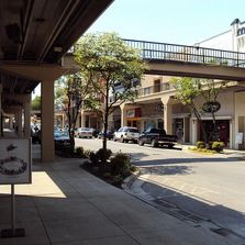 Historic shopping and arts district with overhead walkways in Morristown, TN.