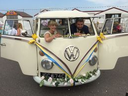 'Esme' 1965 Split Screen Camper-van A very sunny Herne Bay Pier Molly's Classic Wedding Cars