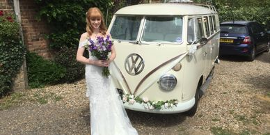 Sarah in lovely Wingham  'Esme' Camper-van Molly's Classic Wedding Cars