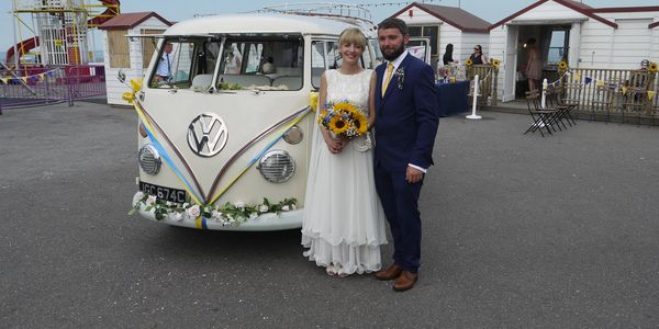 'Esme' our lovely 1965 Camper-van on a lovely sunny day on Herne Bay Pier Molly's Classic Wedding Cars