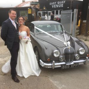 'Grace' our lovely MK II Jaguar Beautiful sunny East Quay Venue in Whitstable Wedding Cars Kent