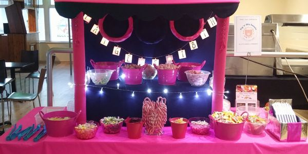 Hot pink and navy stall for an 18th party at the West Coast Rock Cafe in Blackpool