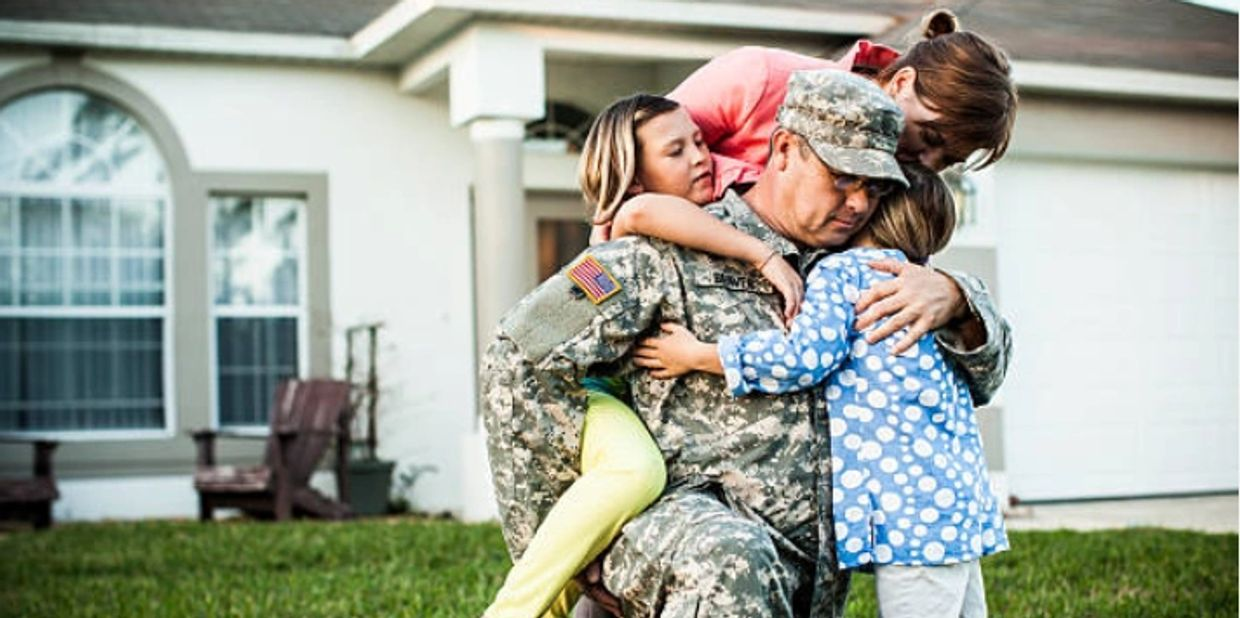 Soldier with PTSD coming home to his family after being away in the war.