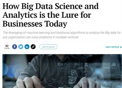Big Data Science Lure Article by Kamaljit Anand in The Entrepreneur, 2018