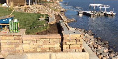patio, retaining wall, river view