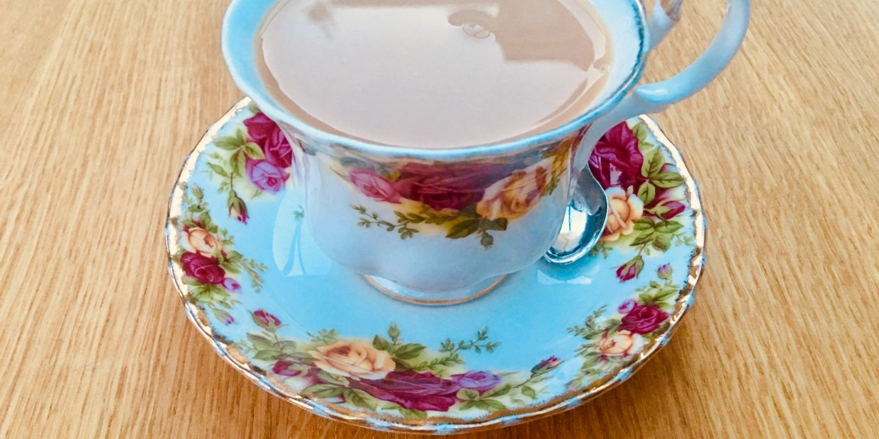 Royal Doulton fine bone china cup and saucer with Old Country Roses pattern.