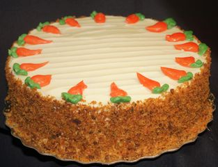 our popular wholesome carrot cake with cream cheese frosting