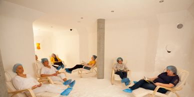 Women relaxing in the Adult salt therapy room at Spa de Sal