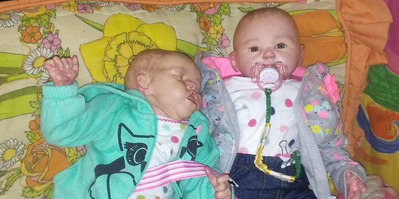 My first two reborn doll prototypes. Reborns are hand painted dolls.