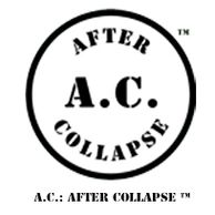 Disk and text logo for A.C.: AFTER COLLAPSE™
