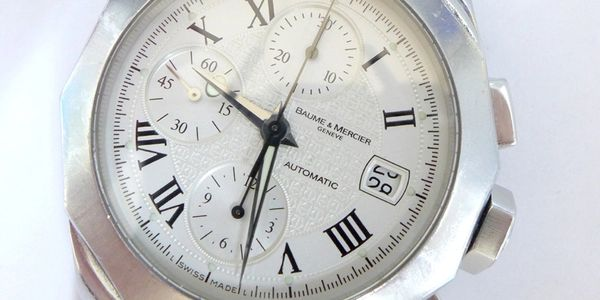 Baume & Mercier automatic chronograph watch, date, calendar damaged by  quickset at wrong time.