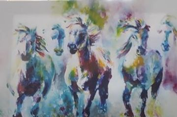 Colourful Running Horse Canvas.