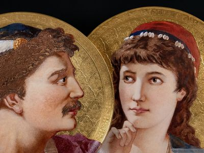 "A Pair of Wedgwood Aesthetic Movement Outside Decorated Plaques, ""Romeo"" & ""Juliet"", 1881"