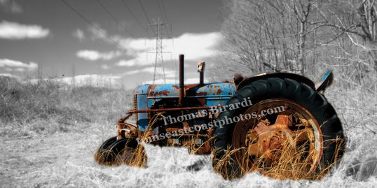 tractor, farmland, black and white, blue tractor, new jersey farm, old tractor, rusted, photography