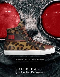 Unisex High-Top:  Quito Carib Italian hand crafted  classic high top materials: Pony Jaguar special material, white rubber sole, brown Crocodile printed leather with special Redskin calf leather toe tip, Gold eyelet metal, 100% Italian leather.