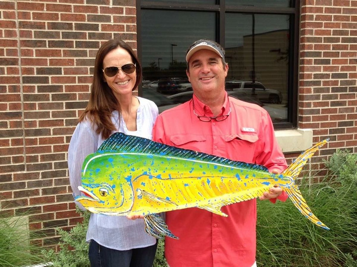 Hand crafted metal art dorado mahi mahi dolphin fish