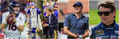 Peyton Manning, Coach Mike Krzyzewski, Jordan Spieth, and Jeff Gordon action images.