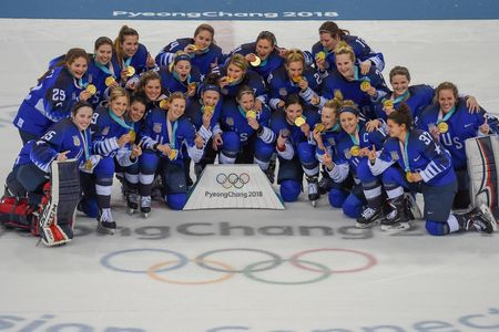 US. Women's hockey team celebrates winning their gold medal at the 2018 Winter Olympics in PyeongChang, South Korea.