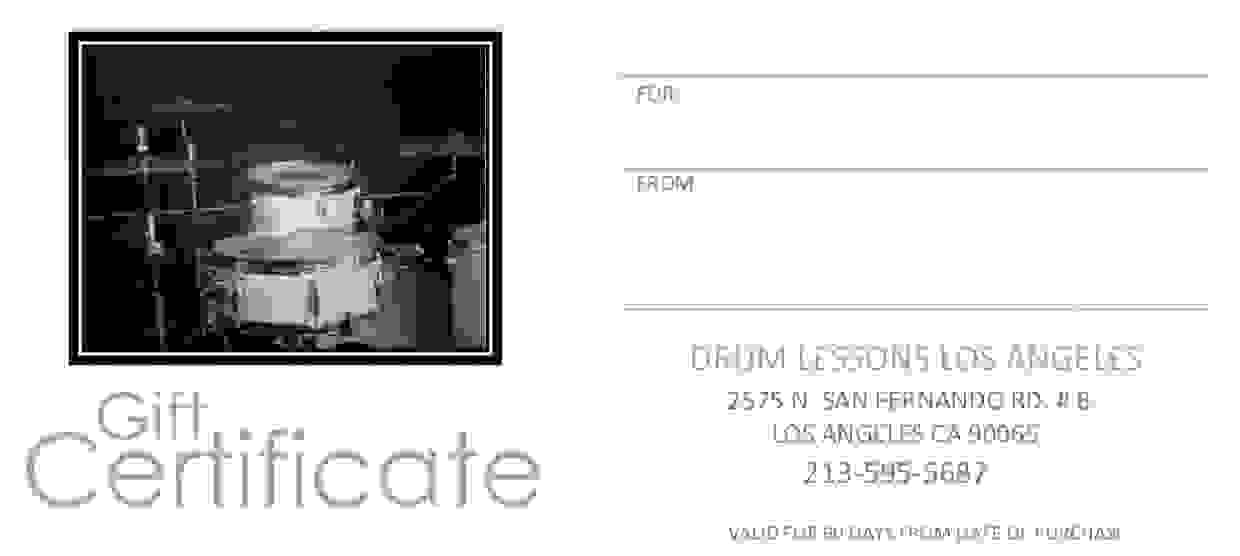 Drum Lessons Los Angeles Gift Certificate