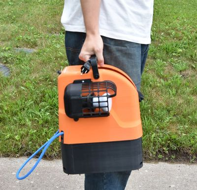 The Tiger Reel is an easy to carry self retracting extension cord design.