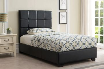 The Kenora upholstered platform bed uses a simple, square-stitched pattern to add a contemporary loo