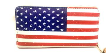 American flag hand wallet is perfect! 8 x 4 x 1 inches. $14.99 FREE shipping in USA.