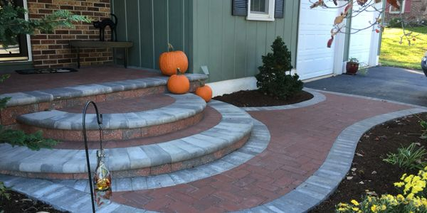 EP Henry paver walkway in autumn blend color with pewter color border
